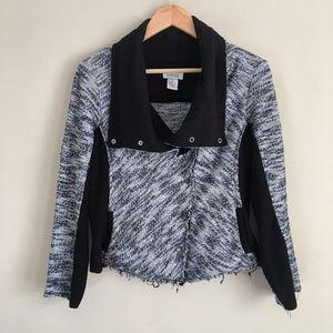 BARNEYS NEW YORK Blue Black Tweed Moto Jacket